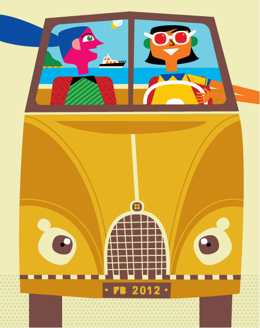 Freddy Boo illustration happy women driving in an open top car