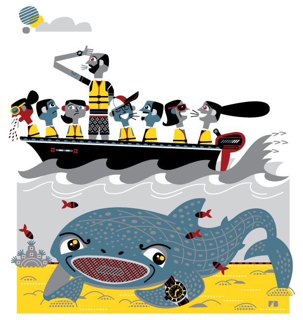 Freddy Boo illustration, National Geographic Traveller UK, whale sharks