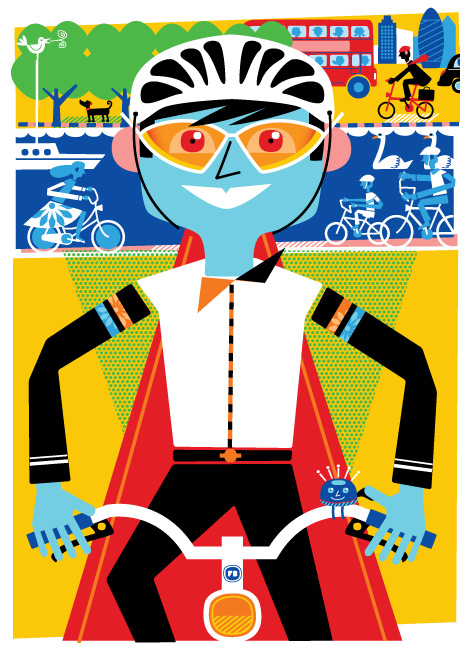 Freddy Boo Illustration, Cycling in London