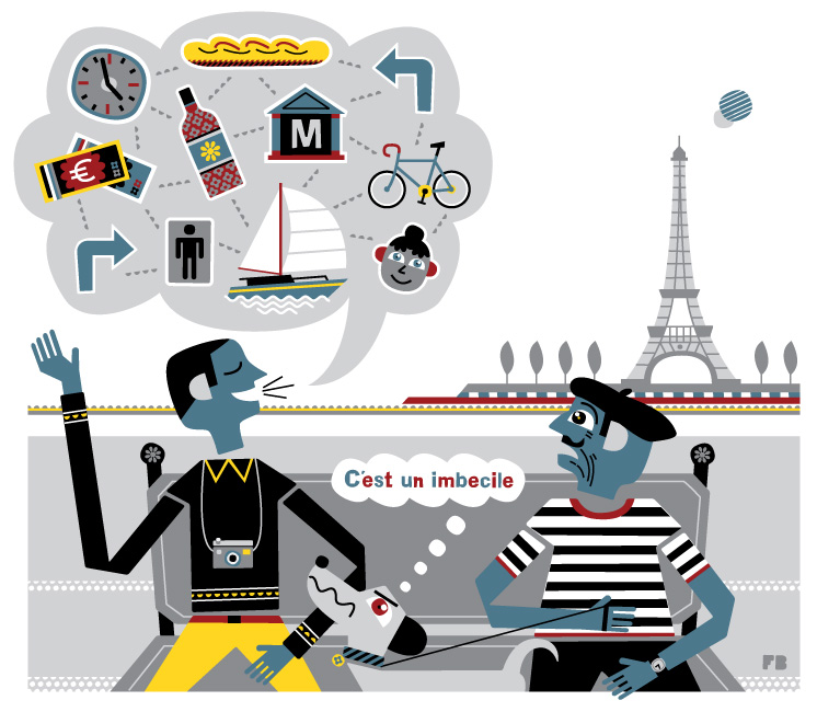 Freddy Boo illustration, National Geographic Traveller UK, Tourist in Paris